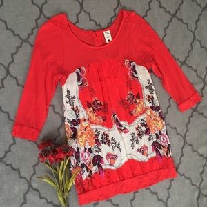 "FP Red Floral ""Summer Of Love"" Back Button Blouse"